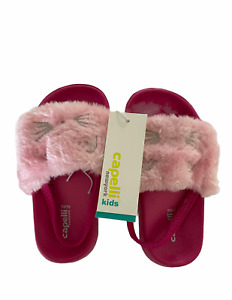 Capelli New York Kids Girls Pink Faux Fur Slippers with Elastic Back