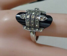 STERLING RING WITH BLACK ONYX & MARCASITE LADIES SIZE 8- 5