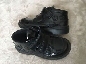Girls M&S Black Patent Leather School Boots Size 10
