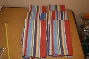 Crate & Barrel Napkins Wesley Stripe Cotton Fabric Brown Blue Rust Set 6