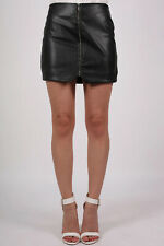 Skirt Faux Leather Exposed Zip Mini Skirt