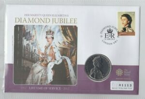 2012 THE QUEEN'S DIAMOND JUBILEE £5 CROWN STAMP COVER SET WITH CERTIFICATE.