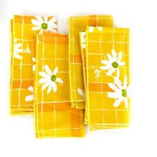 Vintage Cloth Napkins Mod Daisy Set of 4 1970's Yellow Orange White 16x16