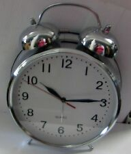 Large Double Bell Alarm Clock In Nickel By Uma 72789