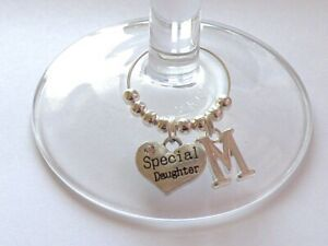 PERSONALISED SILVER PLATED INITIAL HEART WINE GLASS CHARMS WEDDING FAMILY