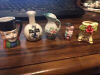 Lot of Five Vintage Various Hallmarked Miniature Porcelain/China/Ceramic Pottery