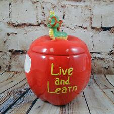 Treat Jar Box Red Apple Caterpillar Back School Teacher Gift Live Learn Enesco