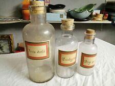 Lot de 3 anciens bocaux de pharmacie avec bouchon liège complets et état d'usage