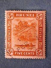 Brunei. KGV 1924 5c Orange-Yellow. Wmk Mult Script CA. SG66. P14. Used.