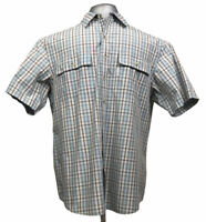 Columbia Mens Large Casual Dress Shirt Button Up Plaid Short Sleeve With Vents