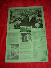Larry Bird Boston Connection Restaurant Menu & Placemat Celtics Basketball