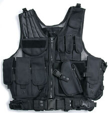 TACTICAL AIRSOFT PAINTBALL HUNTING COMBAT VEST WITH HOLSTER POUCH BLACK-35256