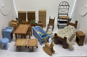 Vintage Assorted Dollhouse Miniature Furniture Lot - Whole House
