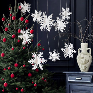 3D snow flakes bunting hanging decoration Christmas party window ceiling frozen
