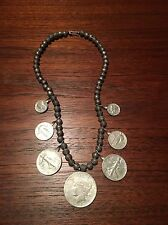 Native American 40s NAVAJO Sterling Coin Silver Dollars Squash Blossom Necklace
