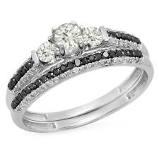 10K White Gold Diamond 3 Stone Bridal Engagement Ring Set (Size 8.5)
