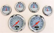 6 Gauge set with senders,Speedo,Tacho,Oil,Temp,Fuel,Volt, white/chrome