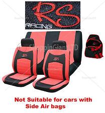 15 Pezzo Rosso Nero RS RACING CAR SEAT COVER MAT SET GUANTO Ruota Copertura PADS Pack