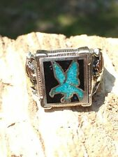 Sterling Silver & 12k Black Hills Gold Turquoise Inlay Size 11 #P1351