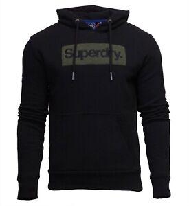 Superdry Mens Core Logo Workwear Hoodie Overhead Long Sleeve Pullover Black