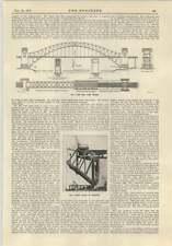 1915 Hell Gate Bridge New York fase iniziale dell'erezione