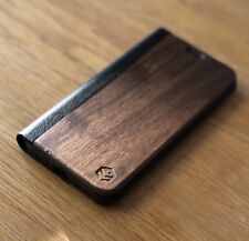 Apple iPhone X Walnut Wood & Leather Phone Folio Wallet Case | OXSY iPhone 10