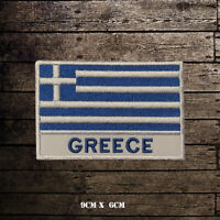 GREECE Flag With Name Embroidered Iron On Sew On Patch Badge For Clothes Etc