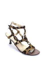 Stuart Weitzman  Womens Pony Hair Leopard Print Sandals Brown Size 7.5
