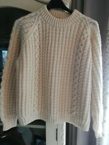 Size 12/14 vintage oversized Hand Knitted Arran Jumper. Fabulous