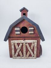 Wooden Birdhouse Red Barn Country Rustic Decor Indoor Decoration