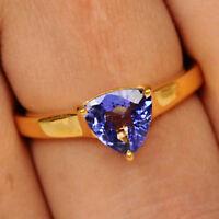 1,40Ct Billion Form 585er Gelbgold 100% natürliche blaue Tansanit Verlobungsring
