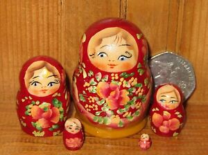 Matryoshka Russian NESTING dolls MINIATURE 5 TINY BURGUNDY signed Marchenko ART