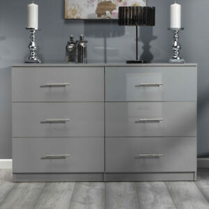 Grey ALL GLOSS Large 6 Drawer Chest of Drawers. Premium Bedroom Gloss Furniture.