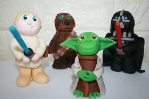 Edible Star Wars Cake Topper Decoration Set Yoda, Chewbacca, Luke & Darth Vader