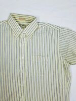 LL Bean Striped Shirt Button Front Blue Yellow 17. #A2.