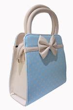 Baby Blue Polk Dots Bow Retro Vintage 50's Rockabilly Bag Handbag BANNED Apparel