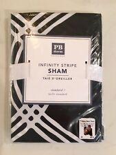 NEW Pottery Barn Teen Infinity Stripe Standard Sham Pillow Case Black White Dorm