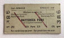 Vintage 1960s British Railways Train Ticket  London BATTERSEA PARK MITCHAM