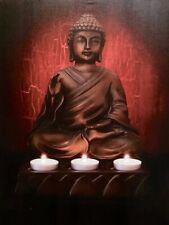 "Canvas Buddha In Peace Led Light Up Print Painting Wall Art 16x24"" Zenda Imports"