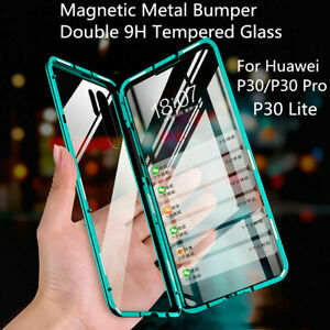 For Huawei P30 P30 Pro Magnetic Metal Bumper+Double 9H Tempered Glass Case Cover