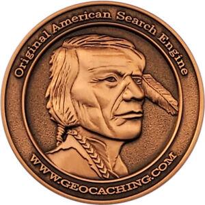 Native American Geocoin, Antique Copper Finish, Unactivated