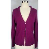 Ann Taylor Women's Size Medium Magenta One Button Cashmere Cardigan Sweater