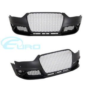 Audi RS Style Front Bumper A4 / S4 B8 12-15 Fitment Black Grille w PDC
