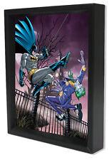 BATMAN-JOKER VS BATMAN 8x10 3D SHADOWBOX DC COMICS SUPERHERO VILLAIN WALL ART!!!