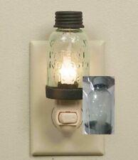 Vintage Style NEW Metal Glass Plastic Galvanized Mason jar Electric Night Light