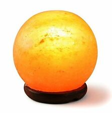 HemingWeigh Rock Salt Sphere Lamp with Wood Base and Electric Wire 14-15 CM
