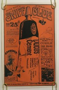 Vintage Poster Sniff Glue 1960's Gawdawful Drug Pin-up Psychedelic 60's DuPont