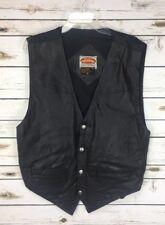 Paragraff Men's Vest Size XL Vintage Black Leather Biker Motorcycle Snap Front