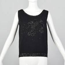 M 1960s Black Sleeveless Pull Over Sweater Beading Detail Wool Angora 60s VTG