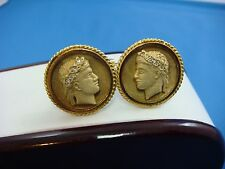 14K SOLID YELLOW GOLD CAESAR CUFFLINKS WITH SMALL GENUINE DIAMONDS, 17.9 GRAMS